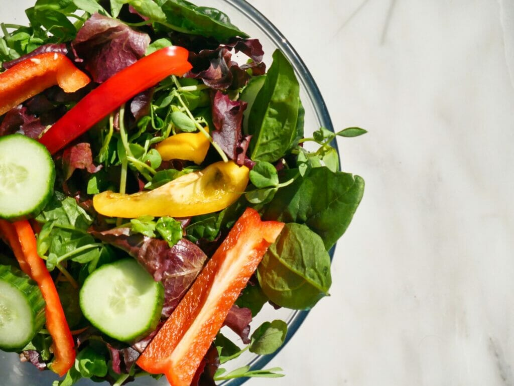 cucumber and bell pepper salad in bowl