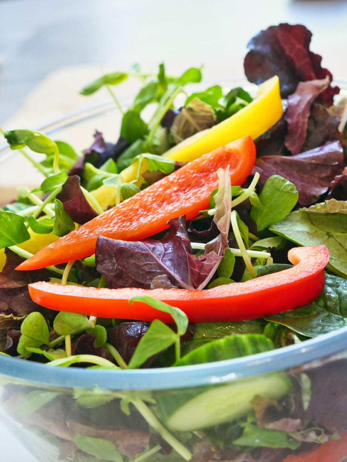 bowl of cucumber and bell pepper salad