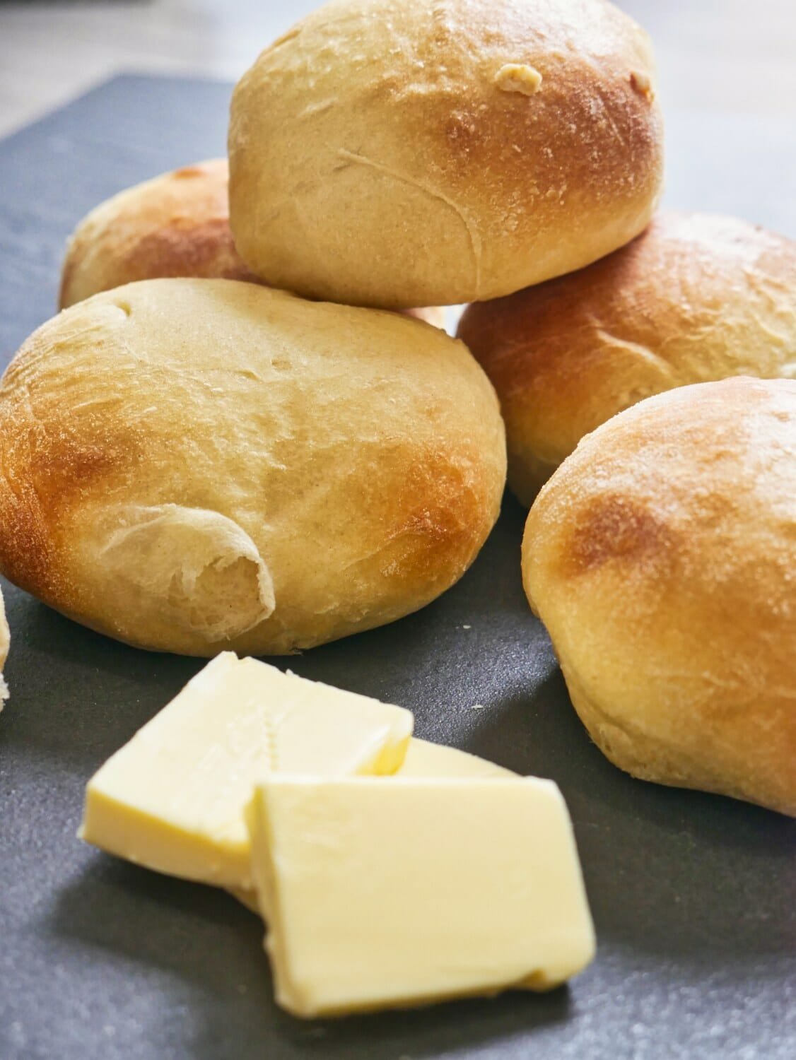 brioche buns with slabs of butter