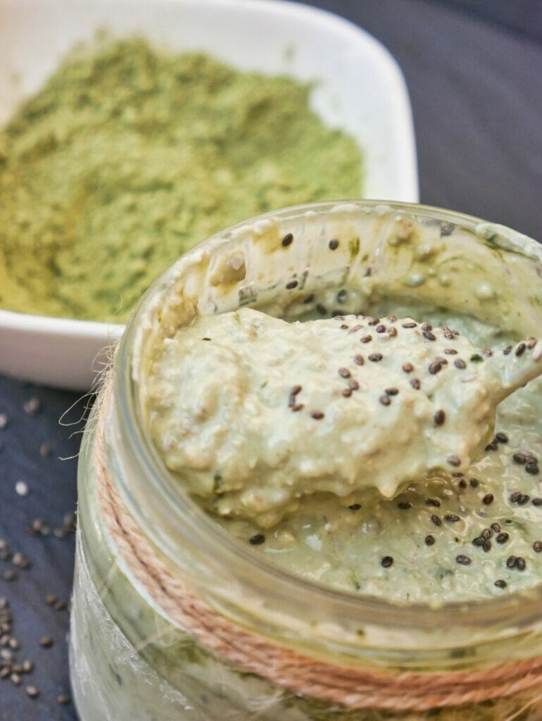 matcha overnight oats with matcha and spoon