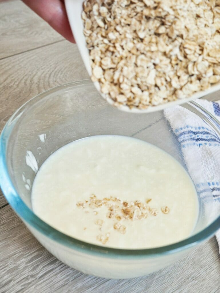 pouring oats into bowl