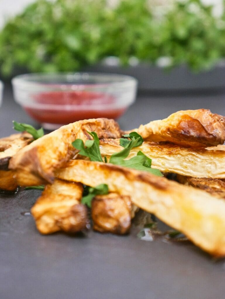 rutabega fries with ketchup behind