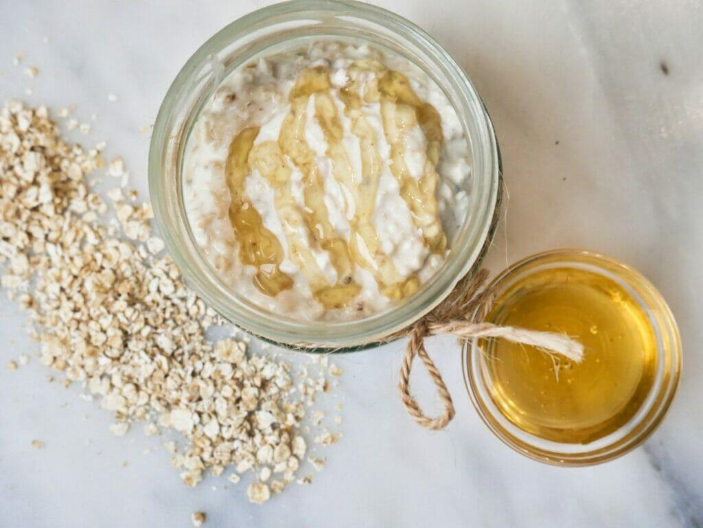 honey overnight oats in a mason jar