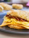 bacon egg and cheese biscuit on plate